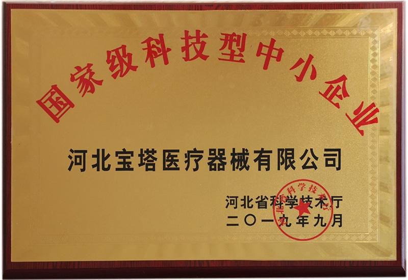 国家科技型中小企业证书